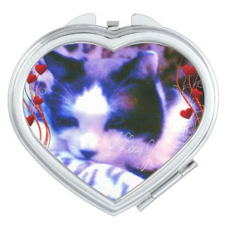 snowshoe Valentines I love you Kitty Compact Mirrors