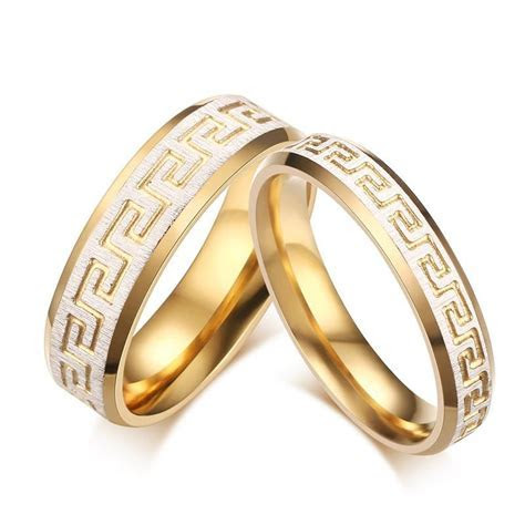 Wedding Ring Gold Color Greek Key Pattern Couple Rings
