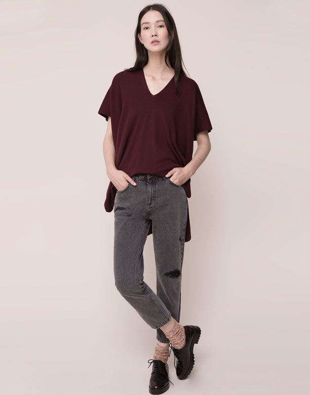 Pull&Bear - mujer - jeans - jeans girlfriend fit con rotos y parches - gris - 09684307-I2015