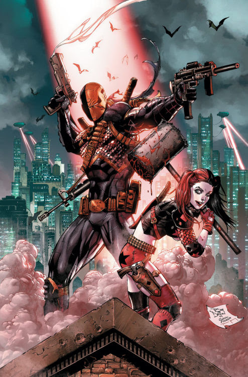 Deathstroke and Harley Quinn - click for more comic book art