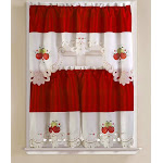 RT Designers Collection Noble Embroidered Apple Kitchen Curtain Tier and Valance Set