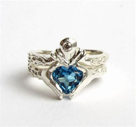 Claddagh Wedding Set   White Gold and Diamond   Blue Topaz