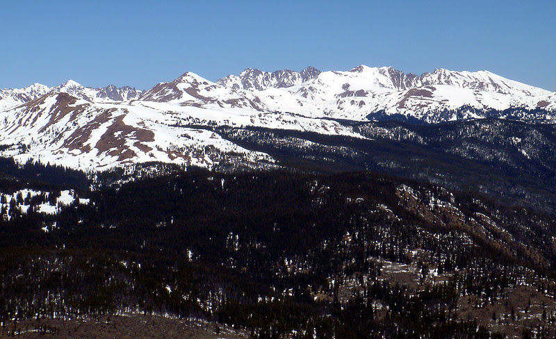 The Gore Range of Colorado is going into spring mode.  Normally, there is a lot of snow remaining this time of year.  March is our snowiest month.  But not this year.  This is not good!