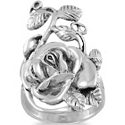 Rose Flower Ring with Leaves and Vines Antiqued Sterling Silver