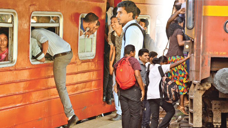 Railway commuters were greatly inconvenienced when the train strike went on for the third consecutive day. Commuters were seen trying to board any available train which would take them close to their destination as possible. Packed to the brim, commuters boarded trains from the window while women held on for dear life clinging on to footboards. Based on the performance report of Sri Lanka Railways, more than 133 million passengers had travelled by train in 2016 alone. Pictures by Saman Mendis