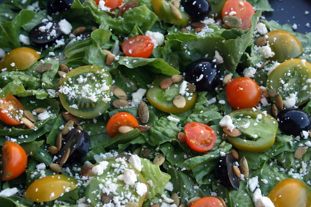 Heirloom, black grape, pumpkin seed and feta salad