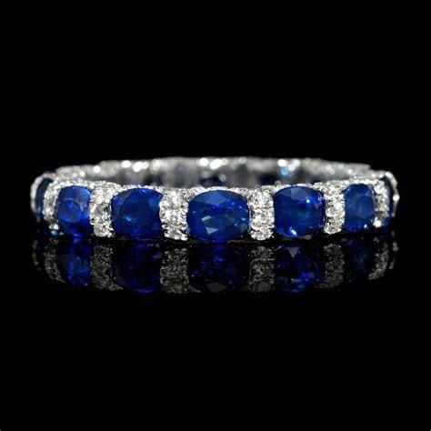 .72ct Diamond and Blue Sapphire 18k White Gold Eternity
