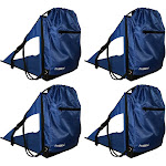 Ostrich PakSeat Padded Folding Stadium Seat Backpack String Bag, Blue (4 Pack) by VM Express