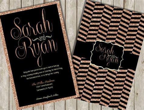 Glitter Wedding Invitations, Rose Gold Glitter Invitations