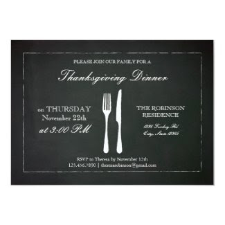 Vintage Chalkboard Thanksgiving Invitation