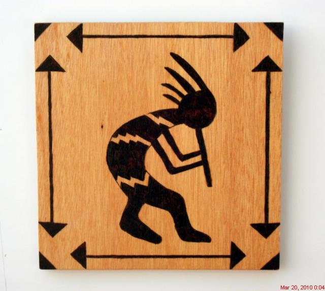 woodburning pyrography kokopelli southwestern wall hanging - cactusflatscarvings