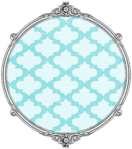 spritzed stencil Mosaic turquoise - free printable paper SAMPLE