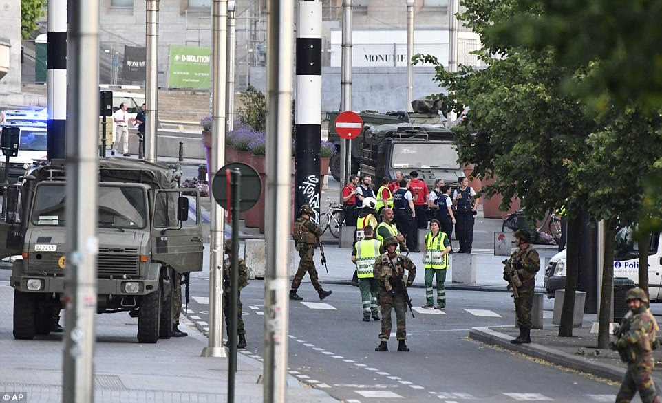 Dozens of Belgian Army soldiers and police patrolled the area. Police said that the situation is now 'under control'