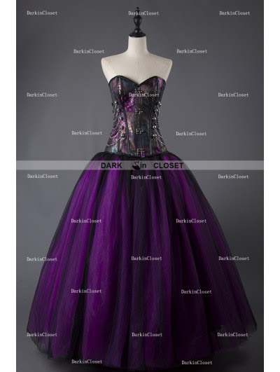 Rose Blooming Purple and Black Steampunk Style Gothic Corset Long Prom Dress - DarkinCloset.com