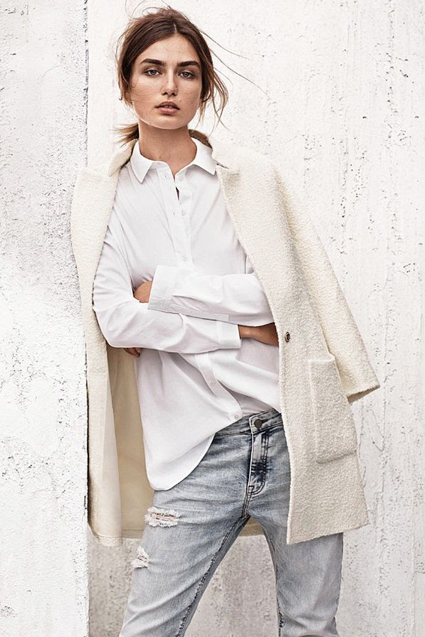 Le Fashion Blog Model Andreea Diaconu Fall Whites Boucle Coat Button Down Shirt Distressed Jeans Via H&m