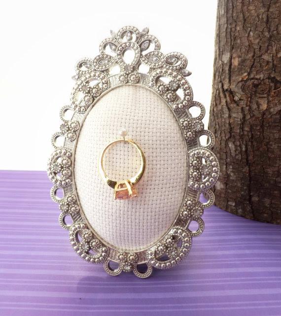 Wedding Ring Holder Oval Rhinestone Frame Bling Picture Frame