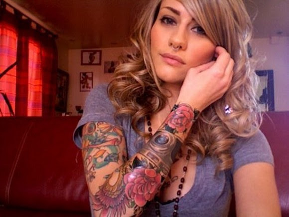 Girl With Colored Flowers Sleeve Tattoo
