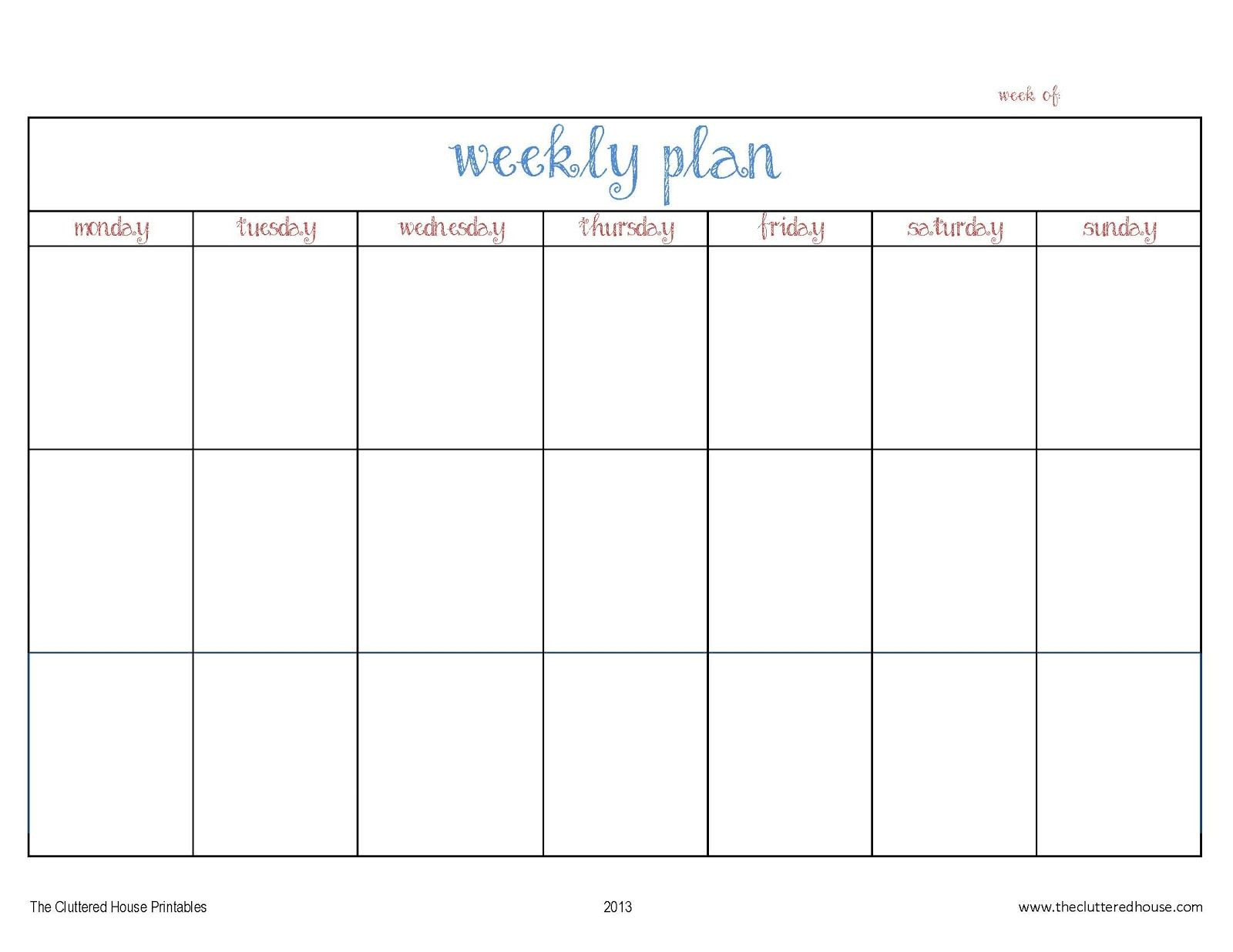The Cluttered House: Weekly Planner Printable   Organize ...