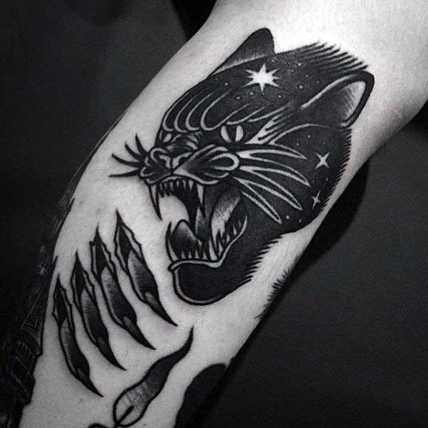 60 Traditional Panther Tattoo Designs For Men Old School Ideas