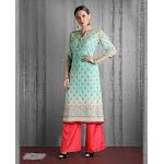 Saris and Things Sea Green Embroidered Chikankari Kurti Buy / Medium / Peach