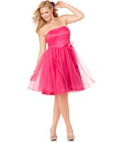 Trixxi Plus Size Dress, Strapless Tulle Bow A-Line