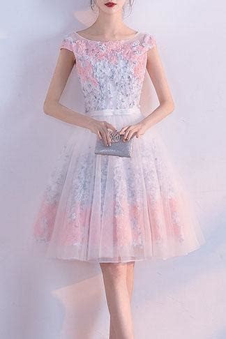 A line Appliques Tulle Round neck Knee length Pink