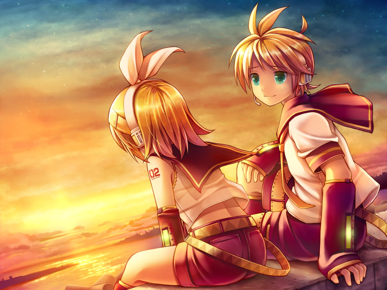 Anime - Vocaloid  - Kagamine Rin - Kagamine Len - Blonde Hair - Aqua Eyes - Headphones - Sunset - Sky - Sea Papel de Parede