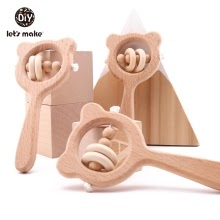 Baby Toys Beech Wood Bear Hand Teething Wooden Ring