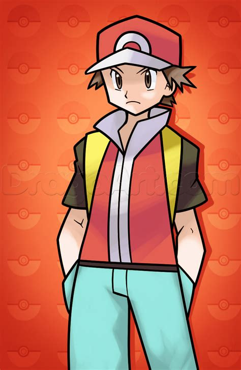 draw pokemon trainer red step  step pokemon