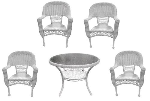 Patio Sets Clearance: 5-Piece White Resin Wicker Patio