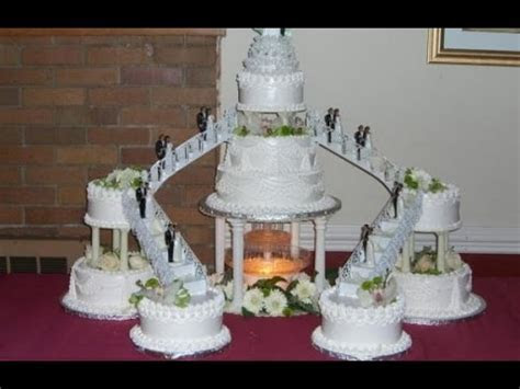 Heart Shaped Wedding Cakes With Fountain   YouTube