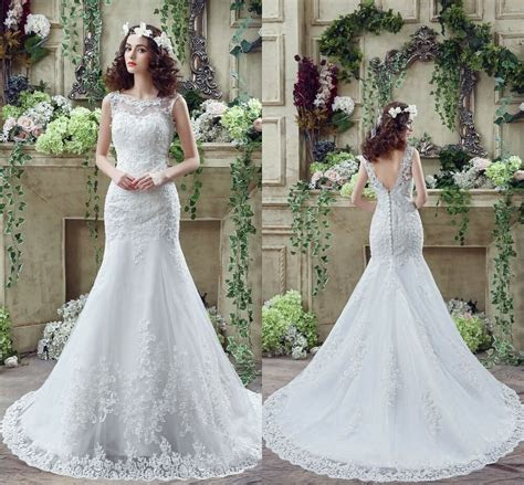 cheap white ivory wedding dresses mermaid lace appliques