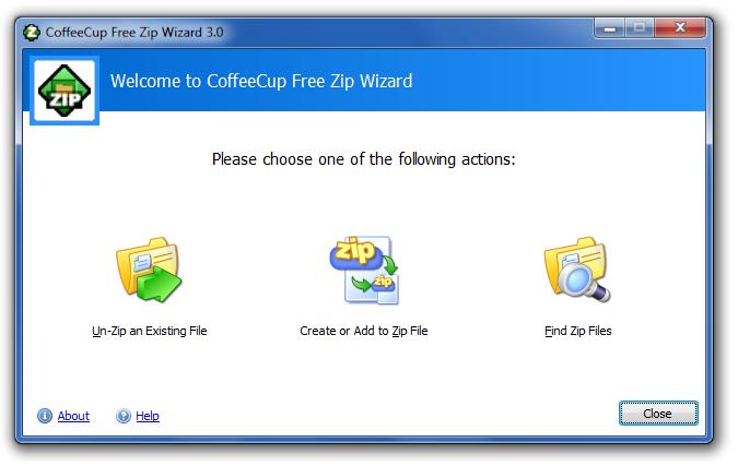 I MIGLIORI PROGRAMMI PER COMPRIMERE FILES : COFFEECUP FREE ZIP
