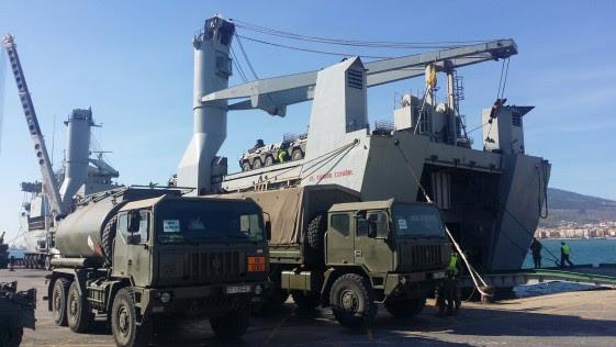1.100 militares y 230 vehículos desembarcan mañana en Tarragona rumbo a Zaragoza