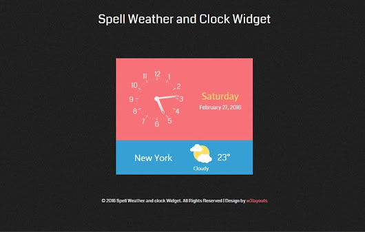 Spell Weather and clock Responsive Widget Template