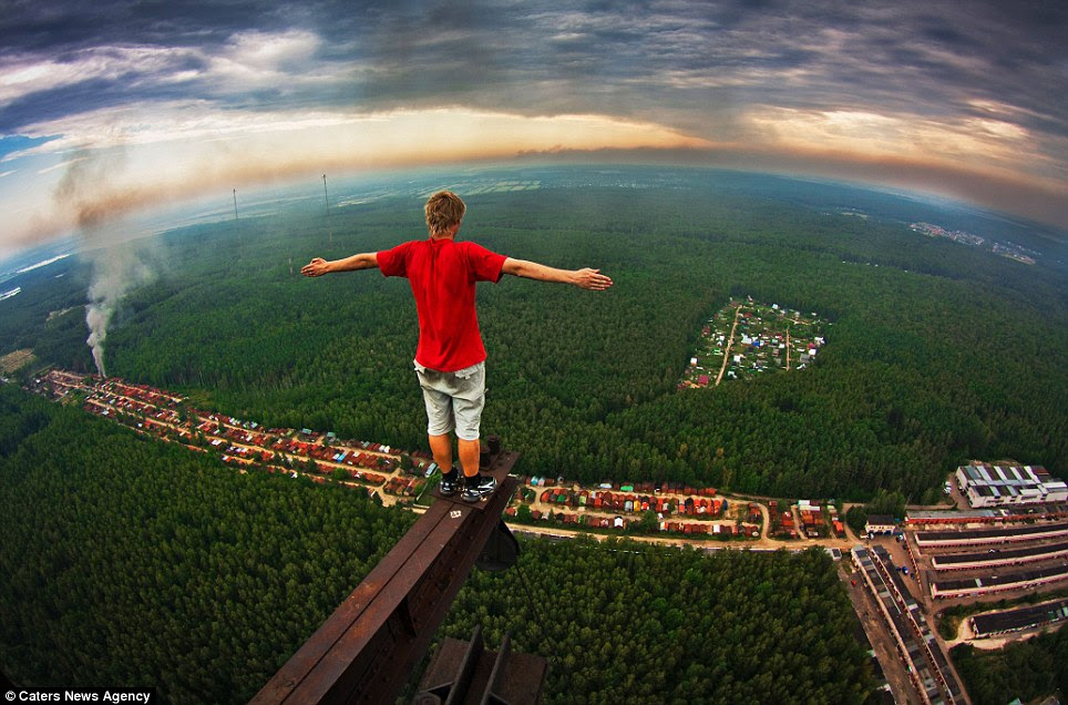 Scared of heights? Russian student Marat Dupri doesn't seem to be, as he photographs amazing views from sky-high structures around Moscow