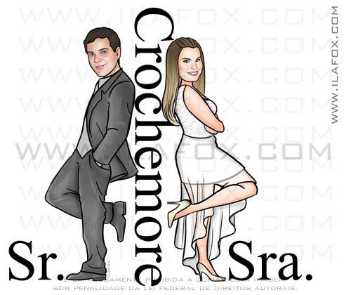 caricatura casal, caricatura sr e sra smith, caricatura noivos, crochemore, by ila fox