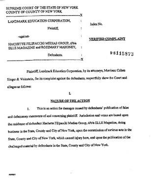 Landmark versus Elle magazine libel case