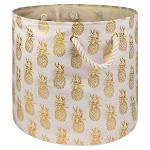 DII Round Modern Polyester Pineapple Medium Storage Bin in Gold - CAMZ10367