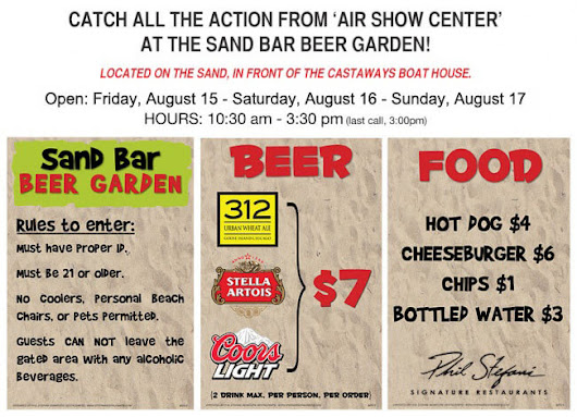Watch the Air & Water Show from the Sand Bar Beer Garden - Phil Stefani Signature Restaurants