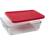 Pyrex 6-Cup Food Storage Rectangle Dish with Red Lid