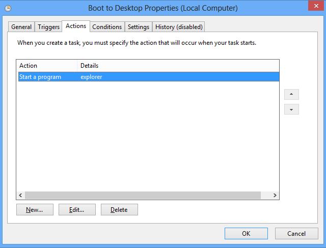 Windows 8 boot to desktop Task Scheduler, setting an action