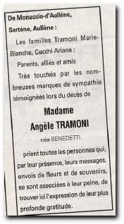 notice remerciement 6 octobre 2006 Angèle Tramoni née Benedetti