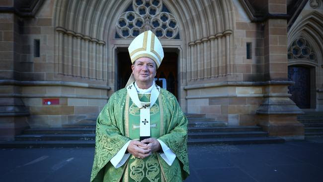 Archbishop Anthony Fisher outside St Mary's Cathedral in Sydney. Picture: Britta Campion