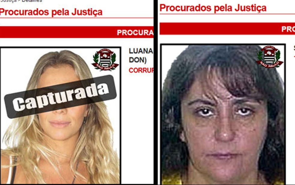 Com a prisão de Luana Don, à esquerda, Maria do Pó, a direita passou a ser a mais procurada no site da Polícia Civil; ela também se tornou a única mulher na lista dos 28 mais procurados em SP (Foto: Reprodução/Polícia Civil de SP)