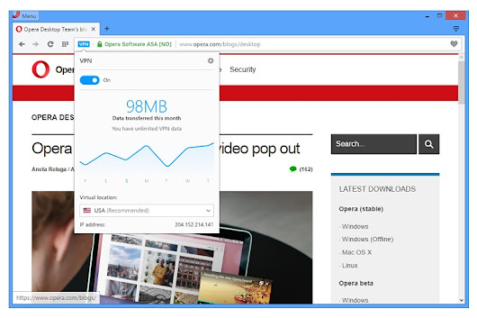 Opera integrates free unlimited VPN in its own web browser