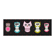 Retro Owl Family on Canvas Gallery Wrap Canvas