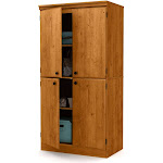 South Shore Morgan - Cupboard - 3 shelves - 4 doors - laminated particle board - country pine