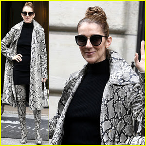 Celine Dion Wears Matching Snake-Skin Coat & Boots in Paris