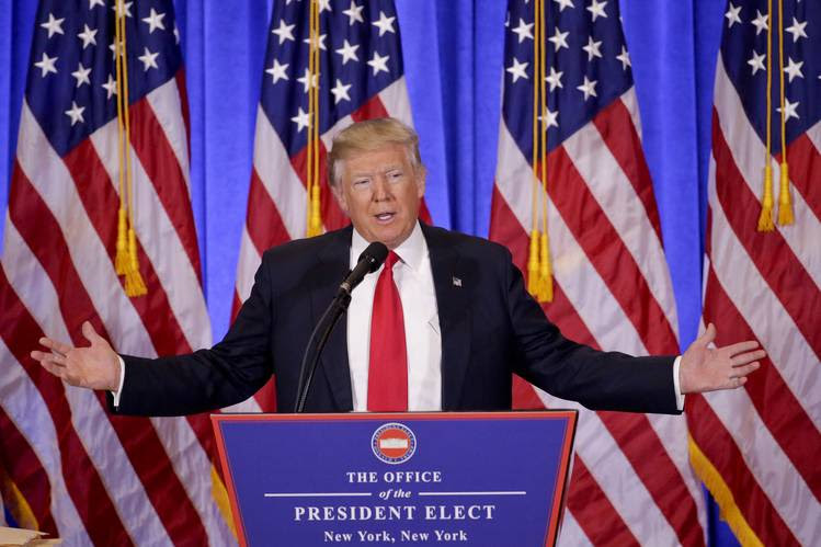 Image result for Trump vows to relinquish control of business empire, blasts Russia reports at news conference